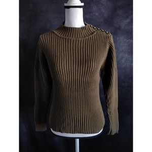 Alps Green Ribbed Chunky Knit Mock Neck Sweater S